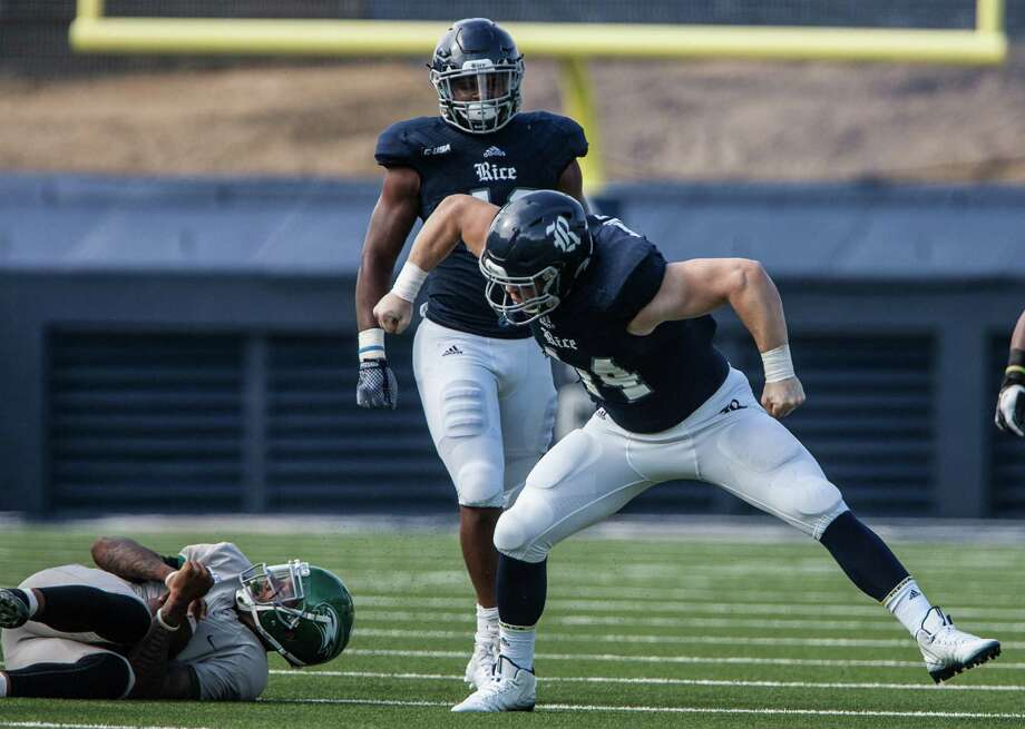 Rice defensive end Brian Womac is fired up after making a tackle against Wagner on Saturday. Photo: Michael Starghill, Jr., Photographer / © Michael Starghill, Jr.