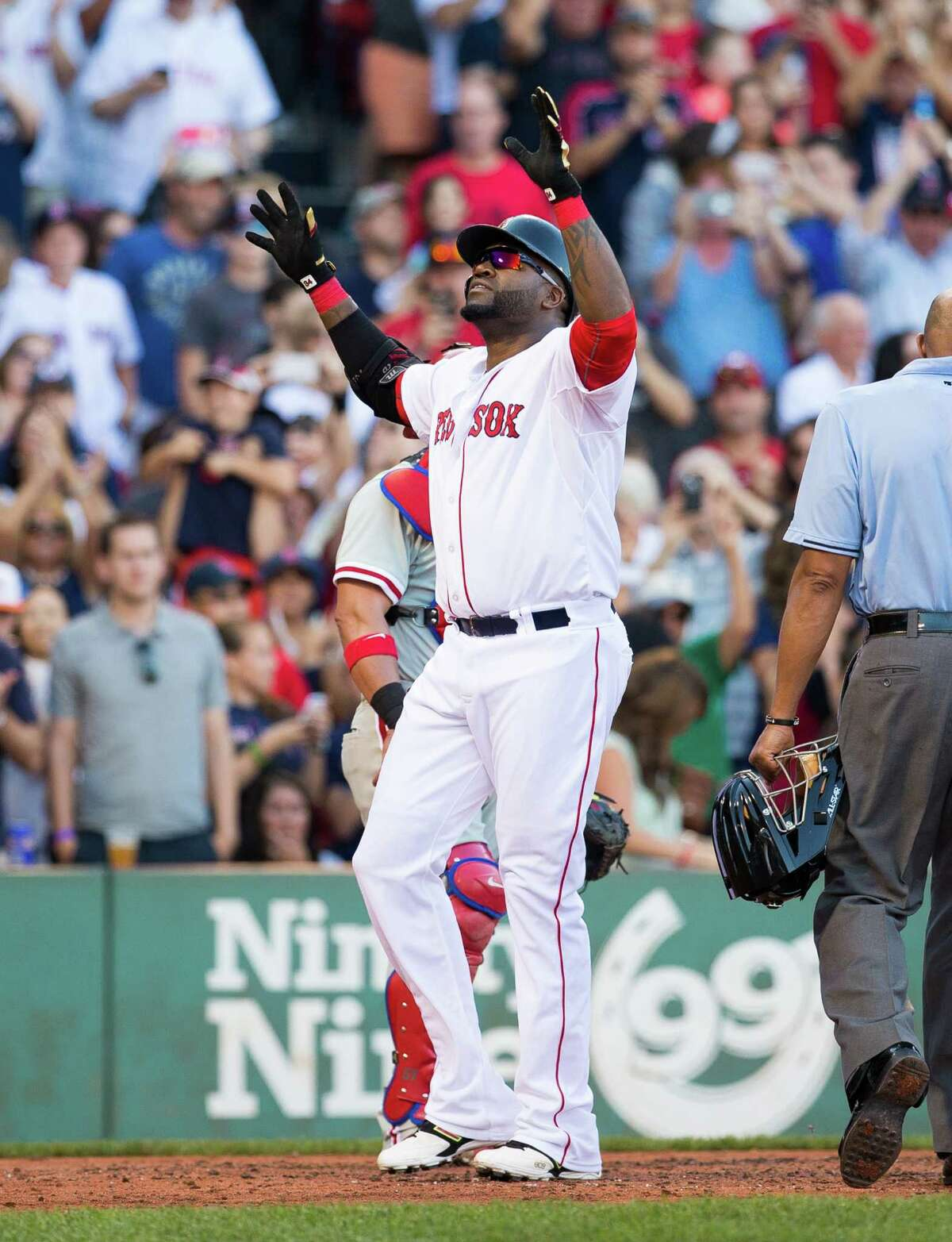 BOSTON, MA - SEPTEMBER 5: David Ortiz #34 of the Boston Red Sox celebrates his 496th career home run during the fourth inning against the Philadelphia Phillies at Fenway Park on September 5, 2015 in Boston, Massachusetts. (Photo by Rich Gagnon/Getty Images) ORG XMIT: 538594267