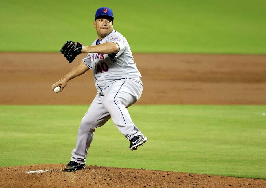 MIAMI, FL - SEPTEMBER 05:  Pitcher Bartolo Colon #40 of the New York Mets throws during the first inning against the Miami Marlins at Marlins Park on September 5, 2015 in Miami, Florida.  (Photo by Marc Serota/Getty Images) ORG XMIT: 538594295 Photo: Marc Serota / 2015 Getty Images