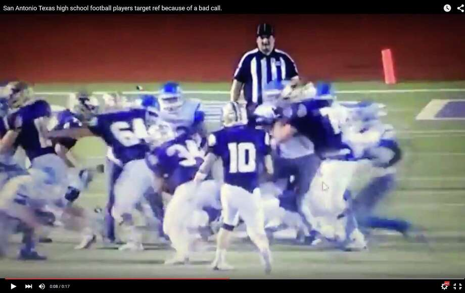 Jay players appear to target official with huge hit. Photo: YouTube Video Screen Grab