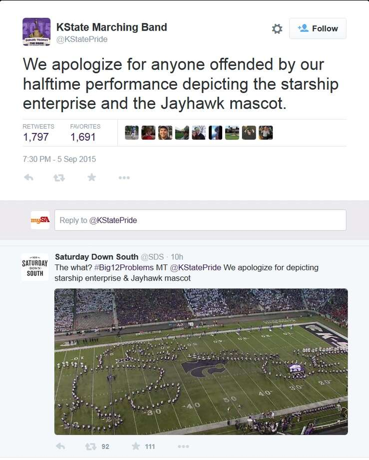 """""""We apologize for anyone offended by our halftime performance depicting the starship enterprise and the Jayhawk mascot."""" Photo: Twitter Screen Grab"""