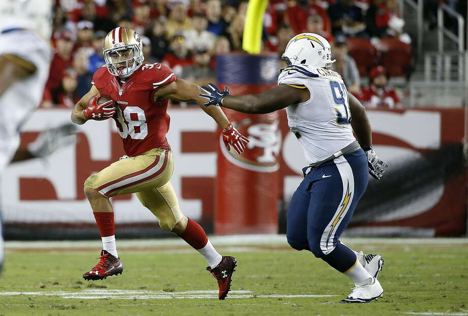 Jarryd Hayne had 118 all-purpose yards against the Chargers on Thursday evening. Photo: Tony Avelar, Associated Press