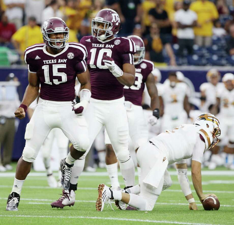 Myles Garrett of the Texas A&M Aggies celebrates after his sack of Mike Bercovici of the Arizona State Sun Devils during the first half at NRG Stadium on Sept. 5, 2015 in Houston. Photo: Scott Halleran /Getty Images / 2015 Getty Images
