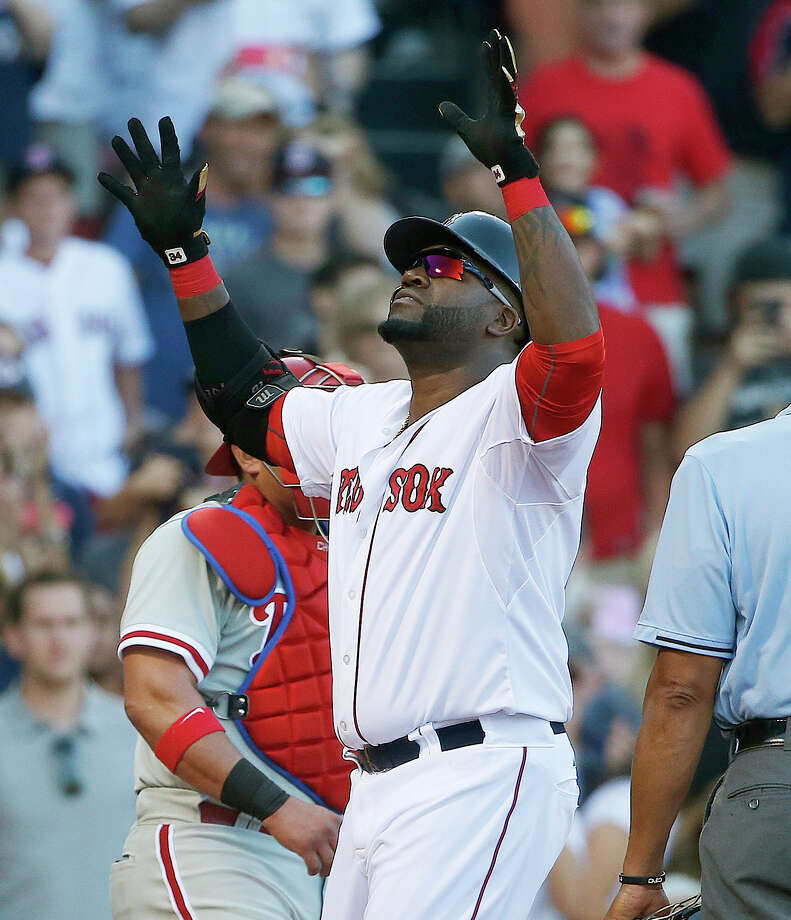 Boston Red Sox's David Ortiz celebrates his solo home run during the fourth inning of a baseball game against the Philadelphia Phillies in Boston, Saturday, Sept. 5, 2015. (AP Photo/Michael Dwyer) ORG XMIT: MAMD107 Photo: Michael Dwyer / AP