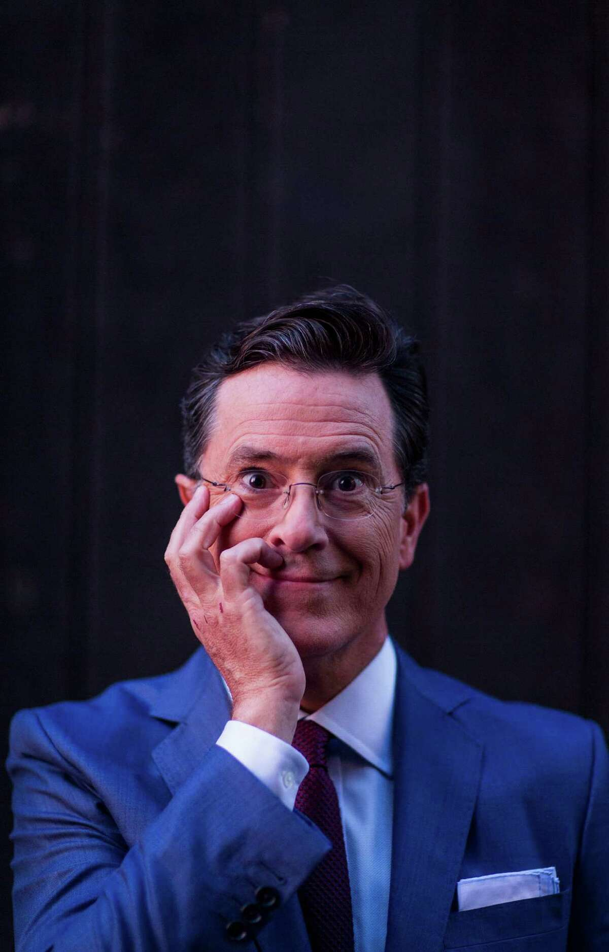 -- PHOTO MOVED IN ADVANCE AND NOT FOR USE - ONLINE OR IN PRINT - BEFORE SEPT. 6, 2015. -- Steven Colbert on the roof of the Ed Sullivan Theater in New York, Aug. 24, 2015. Colbert will be the second person to host ?