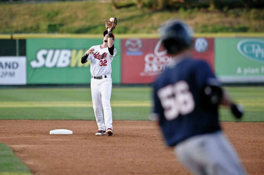 Tri City Valley Keach Ballard catches the infield fly ball of Connecticut Tiger Steven Fuentes Sunday, Sept. 9th, 2015 at the Bruno Stadium in Troy, NY. Photo By Eric Jenks, for the Times Union Photo: Eric Jenks / Eric Jenks 2015