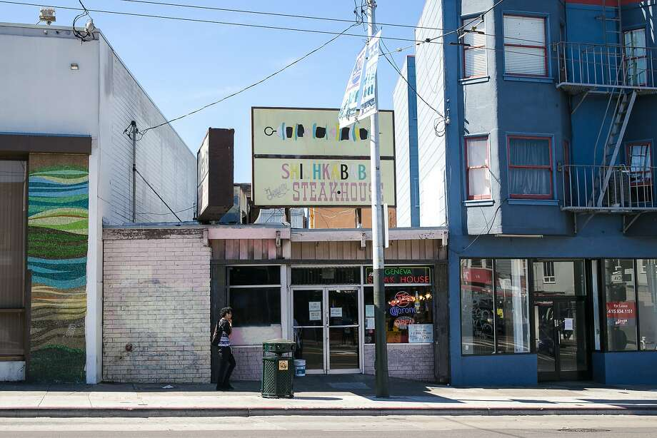 Geneva Steakhouse is sandwiched between two buildings on Mission Street in San Francisco. Photo: Jen Fedrizzi, Special To The Chronicle
