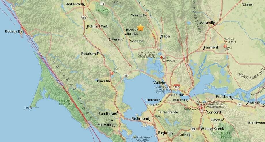 A 2.9 earthquake struck the Northern California wine country between Sonoma and Napa early on Monday, Sept. 7, 2015.  Photo: USGS