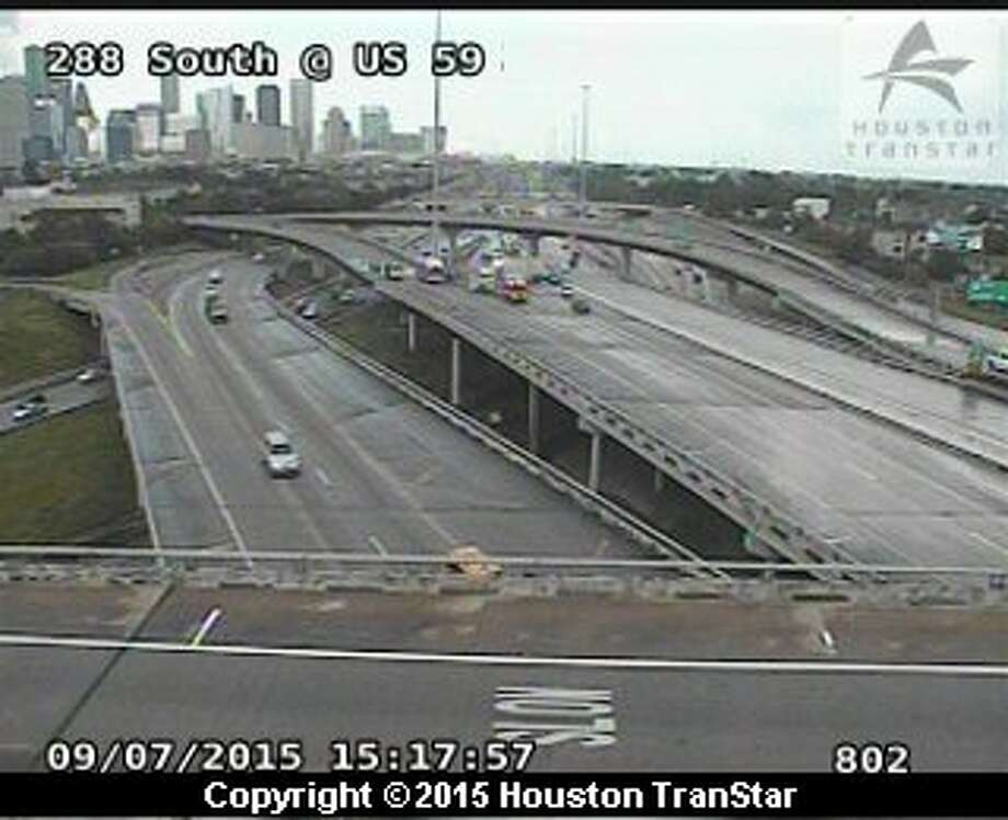 A reported heavy truck accident shut down the southbound lanes of SH-288 at the Southwest Freeway on Sept. 7, 2015. An image from a Houston TranStar camera shows traffic at a standstill.