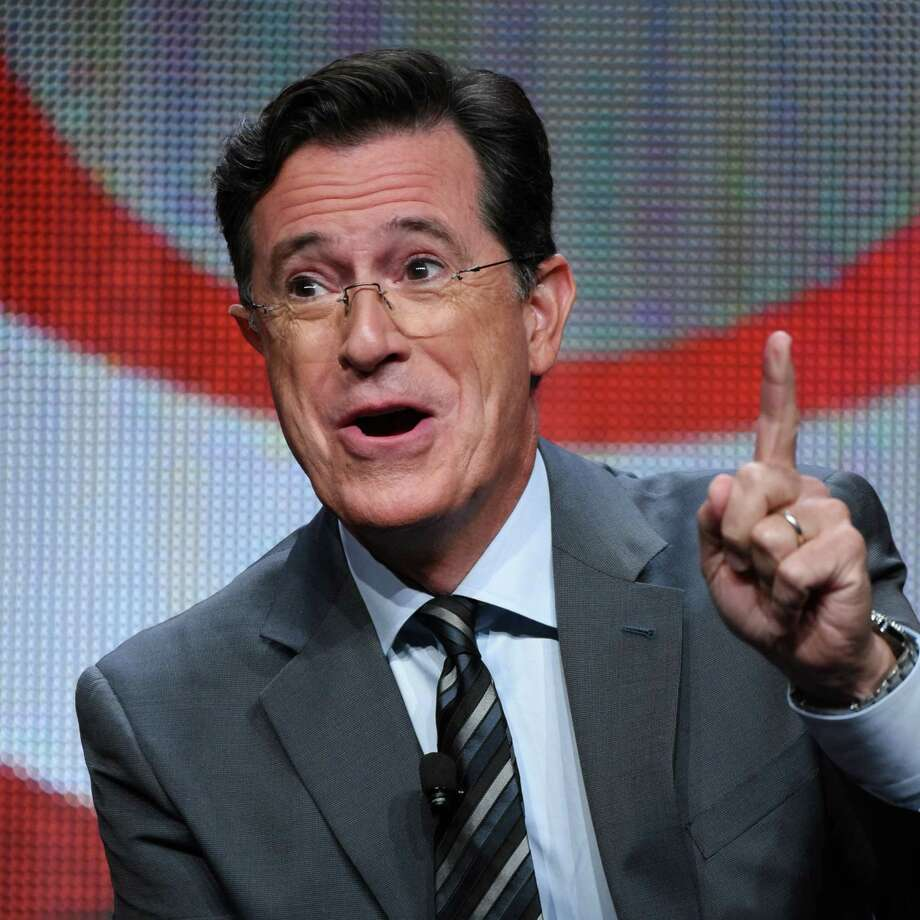 """Stephen Colbert participates in """"The Late Show with Stephen Colbert"""" segment of the CBS Summer TCA Tour at the Beverly Hilton Hotel on Monday, Aug. 10, 2015, in Beverly Hills, Calif. (Photo by Richard Shotwell/Invision/AP) Photo: Richard Shotwell, INVL / Invision"""