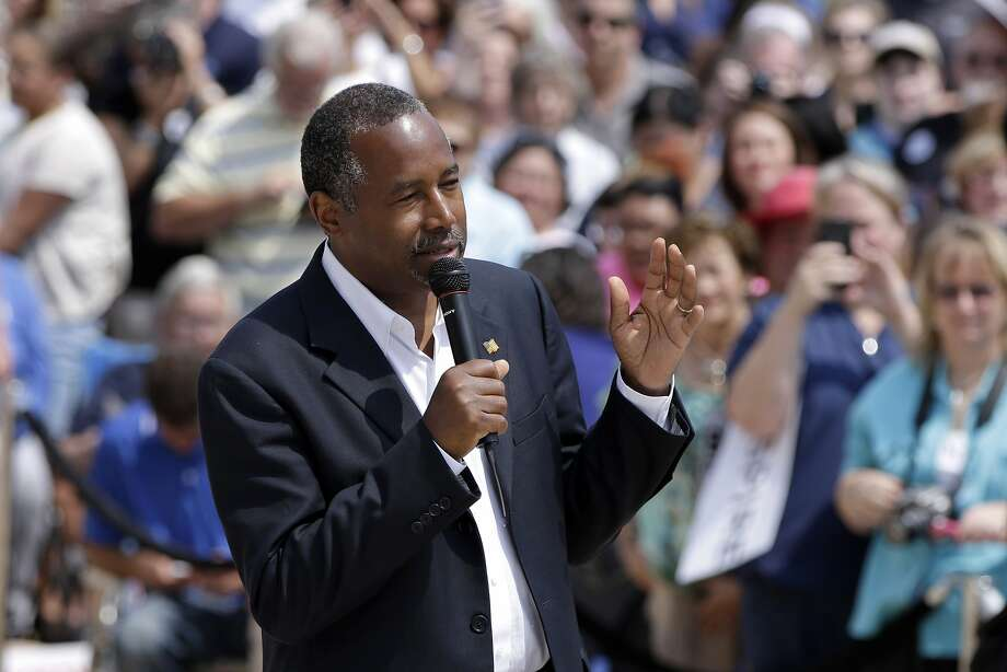 Republican presidential candidate Ben Carson speaks at a rally in Little Rock, Ark. last month. Photo: Danny Johnston, Associated Press