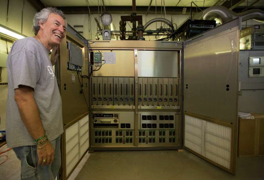 Duane Bradley, the general manager of public radio station 90.1 KPFT is all smiles because of the station's new 100,000-watt transmitter.  Photo: Marie D. De Jesus, Staff / © 2015 Houston Chronicle