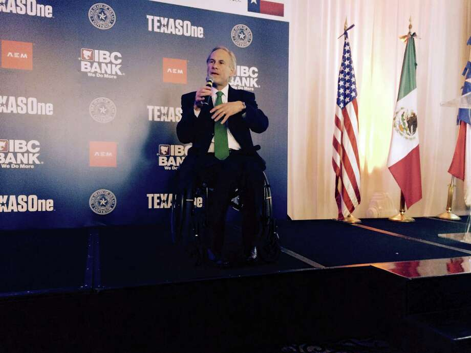Texas Gov. Greg Abbott speaks at luncheon in Mexico. The three-day diplomatic tour of Texas' southern neighbor is Abbott's first international trip as governor. His focus is on strengthening business and economic ties. / Freelance for Houston Chronicle