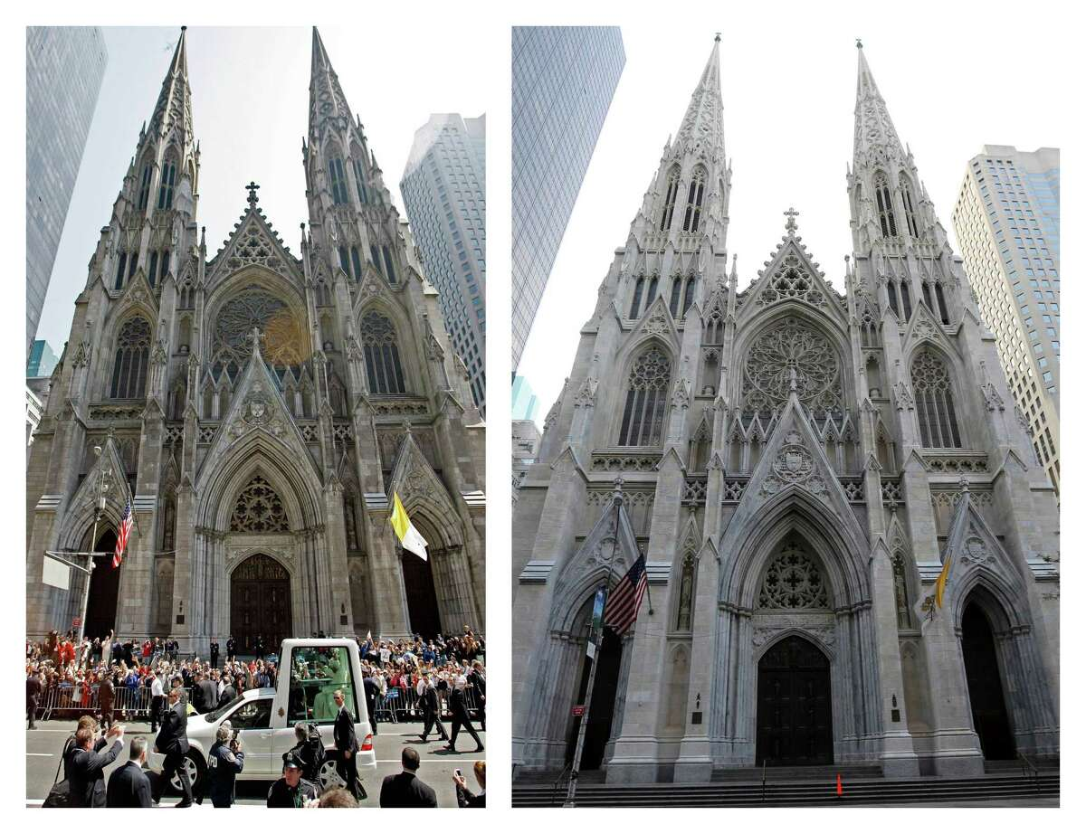 This combination of April 19, 2008 and Aug. 30, 2015 photos shows Pope Benedict XVI in front of New York's St. Patrick's Cathedral and the site seven years later after restoration of the cathedral. The restoration project was officially announced on St. Patrick's Day in 2012. A three-year restoration project at the cathedral is coming to an end, just in time for a late September visit from Pope Francis. (AP Photo/Richard Drew, Mary Altaffer) ORG XMIT: NY833