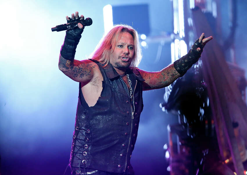 Motley Crue's Vince Neil performs with the group Sunday Sept. 6, 2015 at the Alamodome.