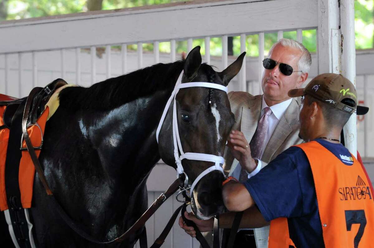 Trainer Todd Pletcher with Uncle Vinny before The Hopeful on Tuesday, Sept. 7, 2015, at Saratoga Race Course in Saratoga Springs, N.Y. (Cindy Schultz / Times Union)