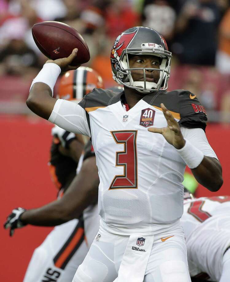 Tampa Bay Buccaneers quarterback Jameis Winston (3) throws a pass against the Cleveland Browns during the first quarter of an NFL preseason football game Saturday, Aug. 29, 2015, in Tampa, Fla. (AP Photo/Chris O'Meara)  ORG XMIT: TPS102 Photo: Chris O'Meara / AP