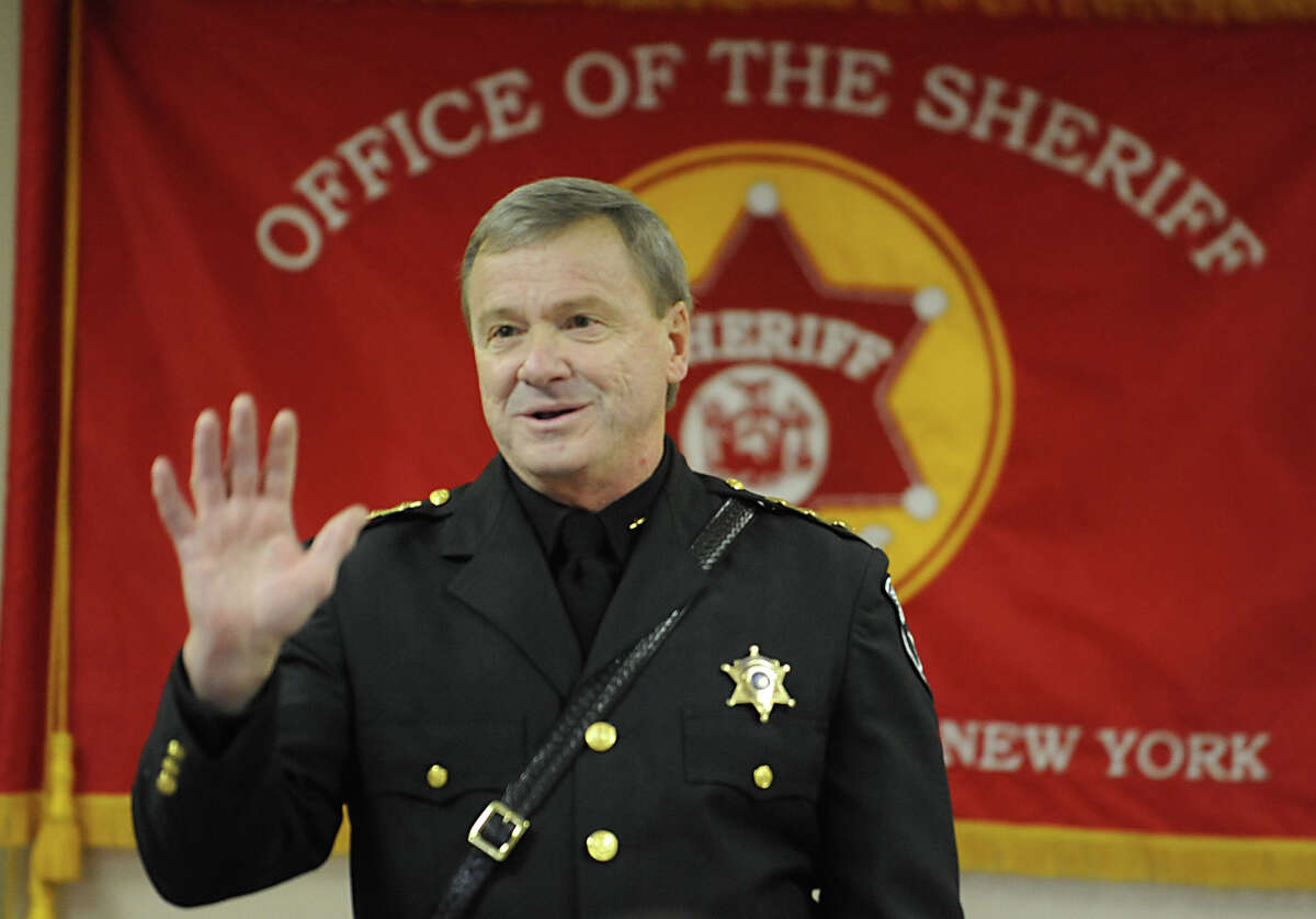 Sheriff Jack Mahar thanks people for coming after he is sworn in for a third term on Monday, Jan. 2, 2012 at the Rensselaer County Jail in Troy, N.Y. (Lori Van Buren / Times Union)