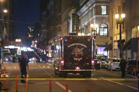 A San Francisco Police Department Bomb Squad vehicle is seen on Post Street between Stockton and Powell Streets while San Francisco's Union Square was closed to foot traffic as police investigated a report of a possible explosive on Monday, September 7, 2015 in San Francisco, Calif.