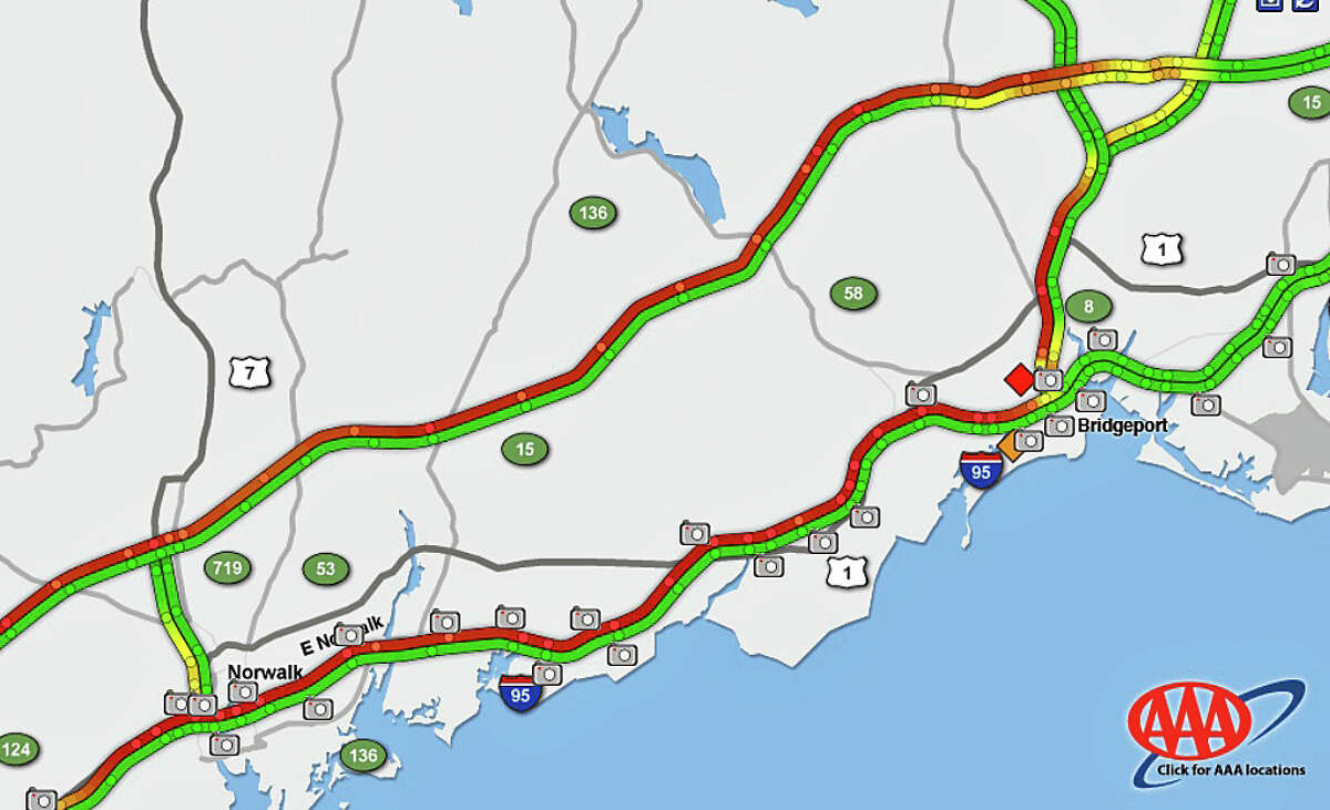 A 8:13 a.m. on Tuesday, Sept. 8, 2015, red lines show the heaviest traffic on the roads of southwest Connecticut.