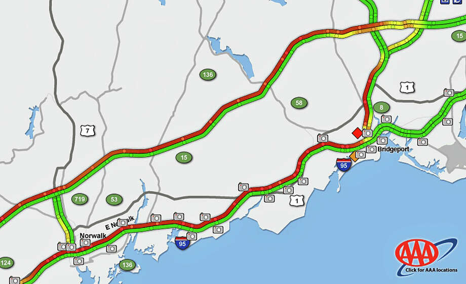 A 8:13 a.m. on Tuesday, Sept. 8, 2015, red lines show the heaviest traffic on the roads of southwest Connecticut. Photo: /