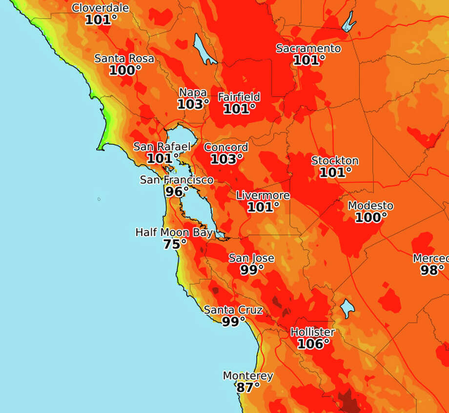 Tuesday's forecast highs. Photo: NWS Bay Area