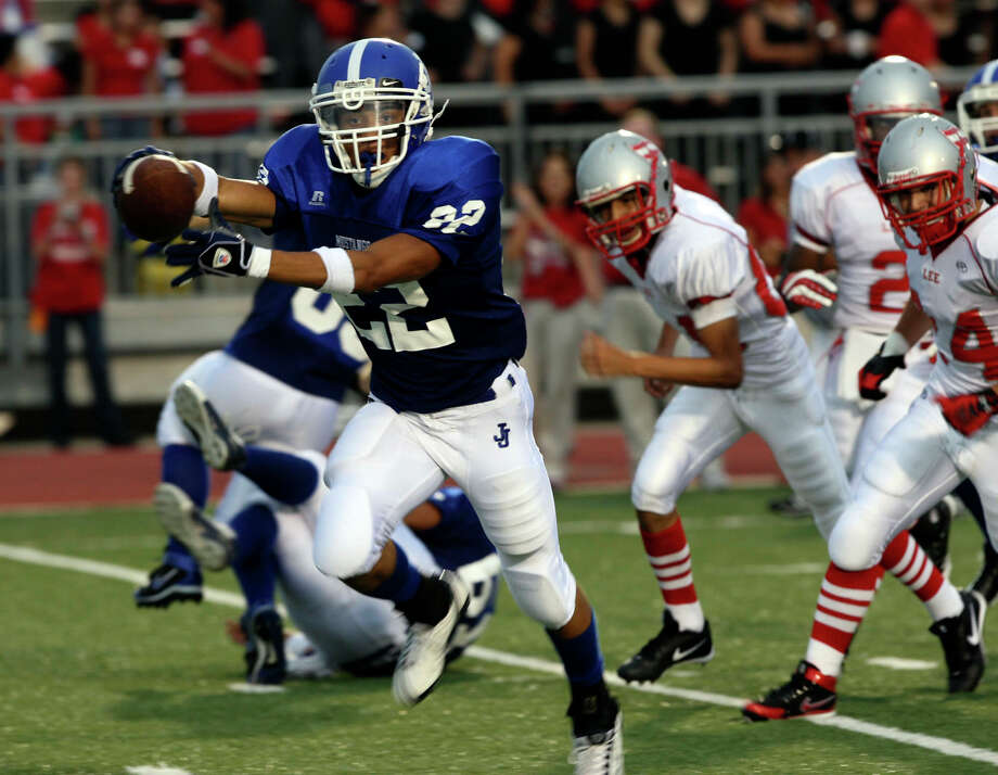 The football program at John Jay High School has a rich history. It and the district must send a stern message about unsportsmanlike conduct in the case of two players who allegedly blindsided a ref. Here, in an earlier unrelated game, wide reciever Travaras Battle-Smith runs the ball in for a first quarter touchdown in the Mustangs game against Robert E. Lee High School in 2008. Photo: HELEN L. MONTOYA /SAN ANTONIO EXPRESS-NEWS / hmontoya@express-news.net