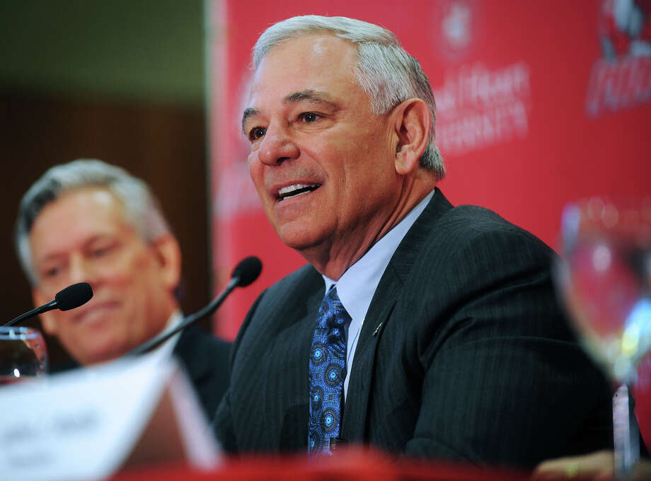 Bobby Valentine speaks during news conference at Sacred Heart University in Fairfield, Conn., Tuesday, Feb. 26, 2013. Valentine has been named executive director of Intercollegiate Athletics at Sacred Heart. (AP Photo/The Connecticut Post, Brian A. Pounds) MANDATORY CREDIT Photo: Brian A. Pounds / Associated Press / The Connecticut Post
