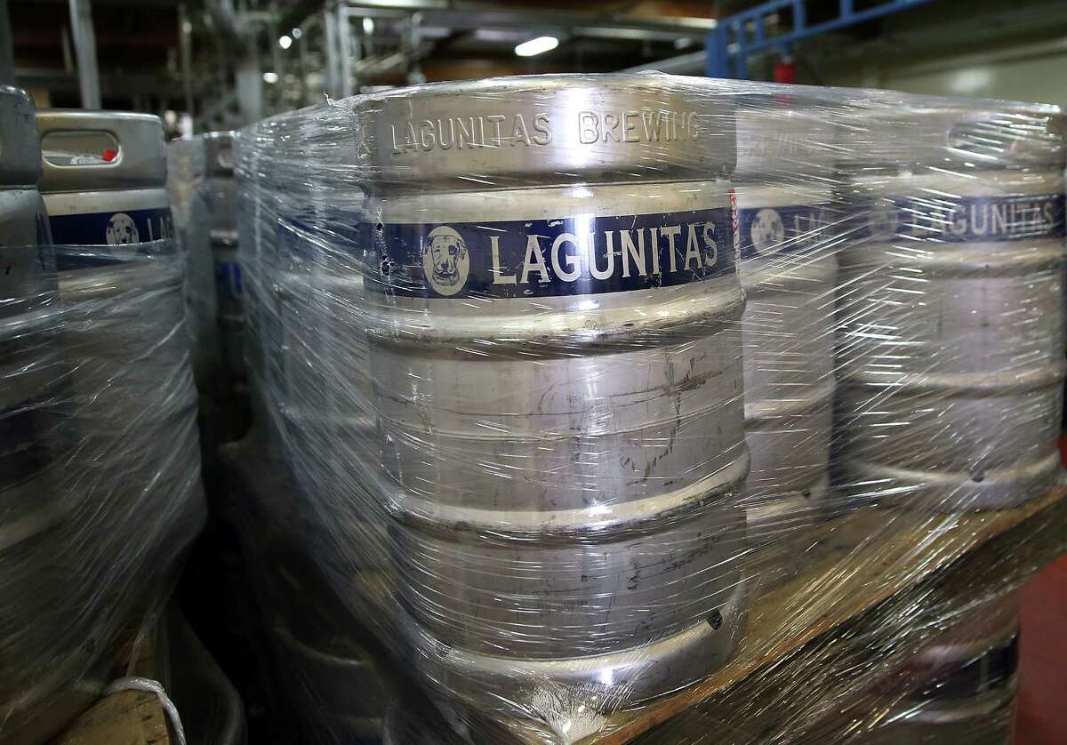 Kegs of Lagunitas Brewing Company beers sit in a storage area at Lagunitas Brewing Company on February 21, 2014 in Petaluma, California. Sonoma County breweries Lagunitas Brewing Company and Bear Republic rely on water from the Russian River and are worried that the extremely low water levels in the 110-mile waterway will force them to seek water from other sources, including well water, which could have an impact on the taste of their beers.