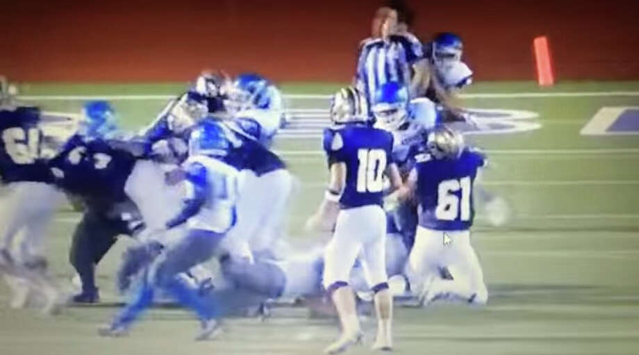 The moment of first impact when a Jay football player slammed into an official during a game against Marble Falls on Sept. 4. Photo: Youtube/Greg Gibson
