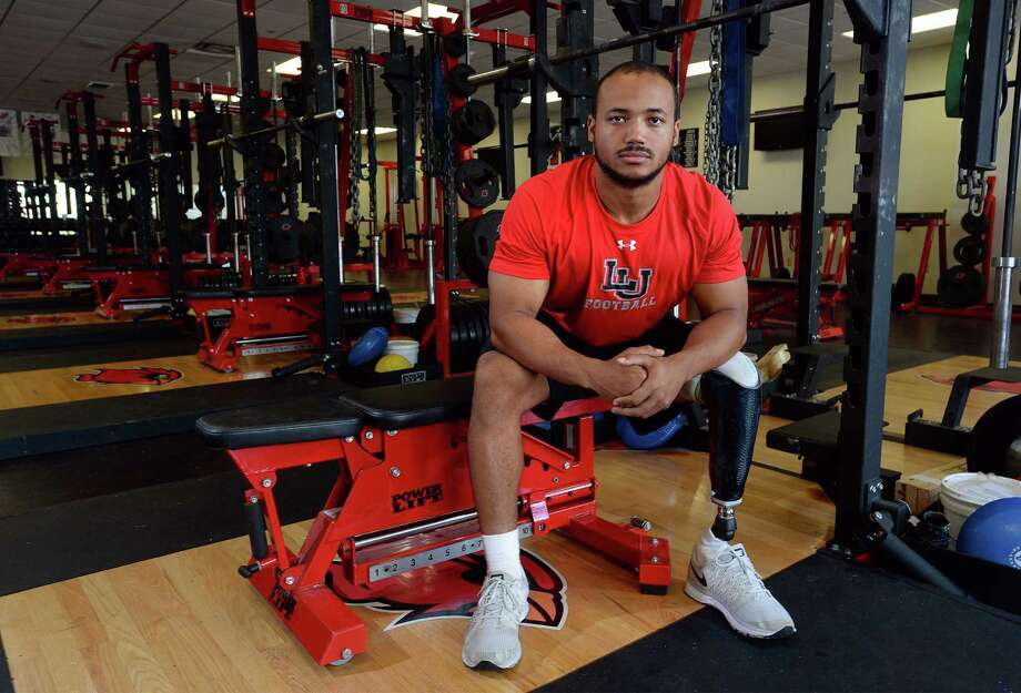 Aaron Gill lost his leg from a football accident as a teenager. Despite the use of a prosthetic leg, Gill has continued a life in football as a graduate assistant to Lamar's strength coach. 