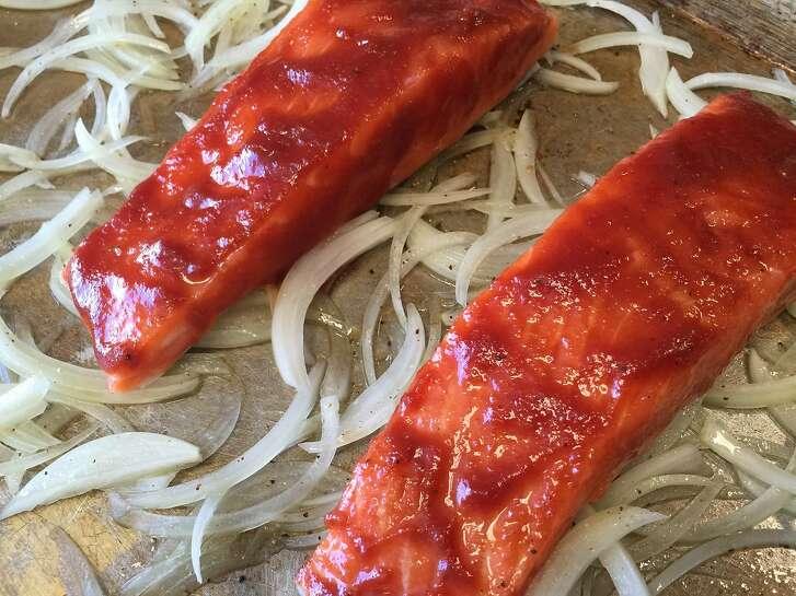 Salmon with Tomato Brown Sugar Glaze