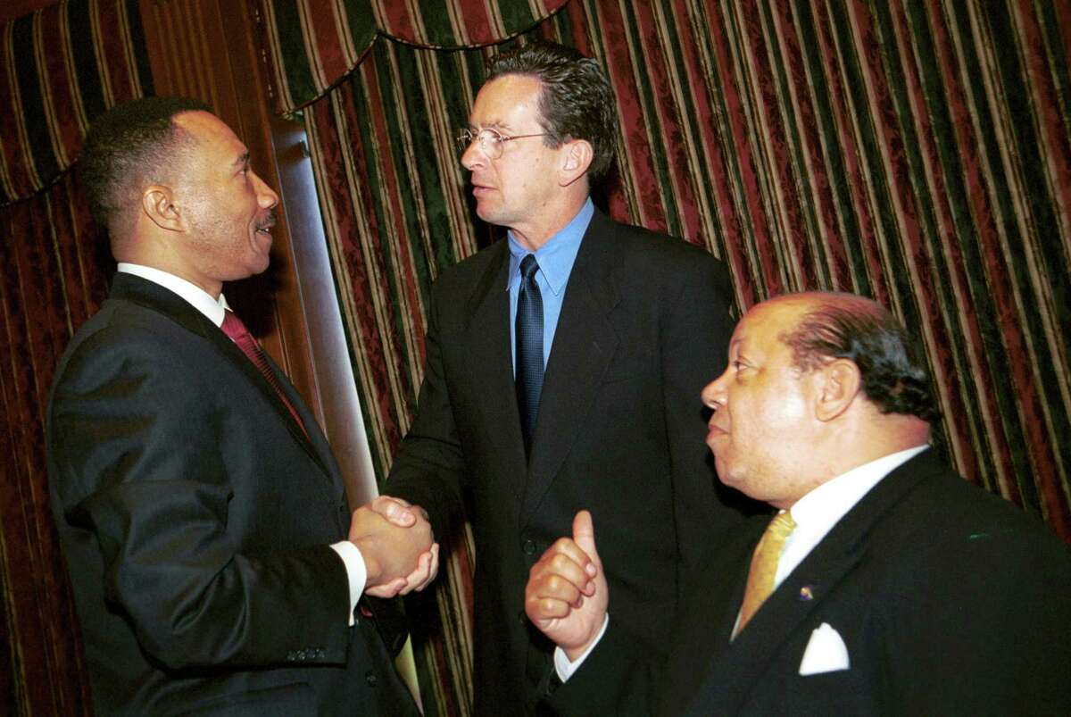 Former NAACP president and CEO Kweisi Mfume is seen here with then-Stamford Mayor Dannel P. Malloy at the NAACP Annual Awards Luncheon in 2001.