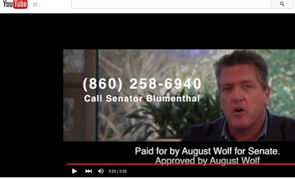 Republican U.S. Senate candidate August Wolf, shown in this screen capture, released his first television ad Thursday, Aug. 20, 2015. In it, he called on constituents of Sen. Richard Blumenthal, D-Conn., to voice their opposition to the Iran nuclear deal.