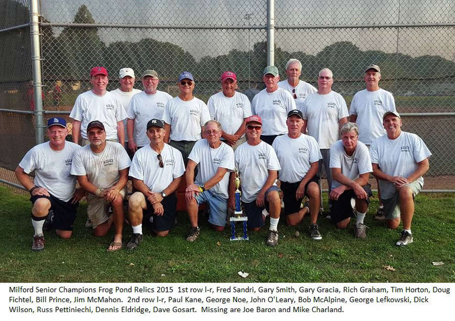 The Frog Pond Relics won the Milford Recreation Department's Over 60 softball league postseason tournament. Team members include, front row, from left, Fred Sandri, Gary Smith, Gary Gracia, Rich Graham, Tim Horton, Doug Fichtel, Bill Prince and Jim McMahon. Back row, Paul Kane, George Noe, John O'Leary, Bob MacAlpine, George Lefkowski, Dick Wilson, Russ Petinicchi, Dennis Edgeworth and Dave Gosart. Missing from photo are Mike Charland and Joe Baron. Photo: Contributed / Contributed Photo / Connecticut Post Contributed