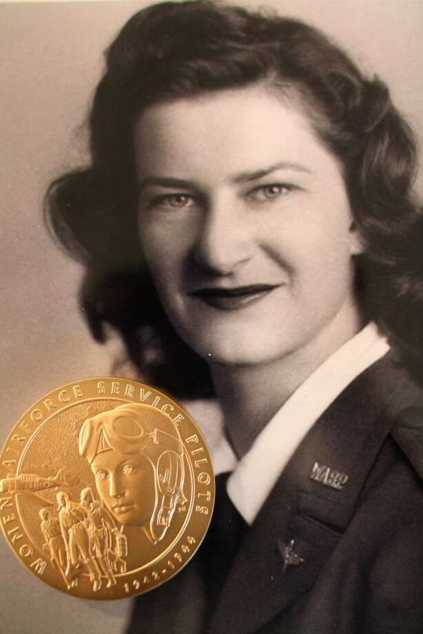 Former Greenwich resident Shirley Ingalls Thackara in a photo from 1943 during her days as a member of the Women Airforce Service Pilots, or WASP, with the Congressional Gold Medal. Photo: David Ames, David Ames/For Greenwich Time / Greenwich Time
