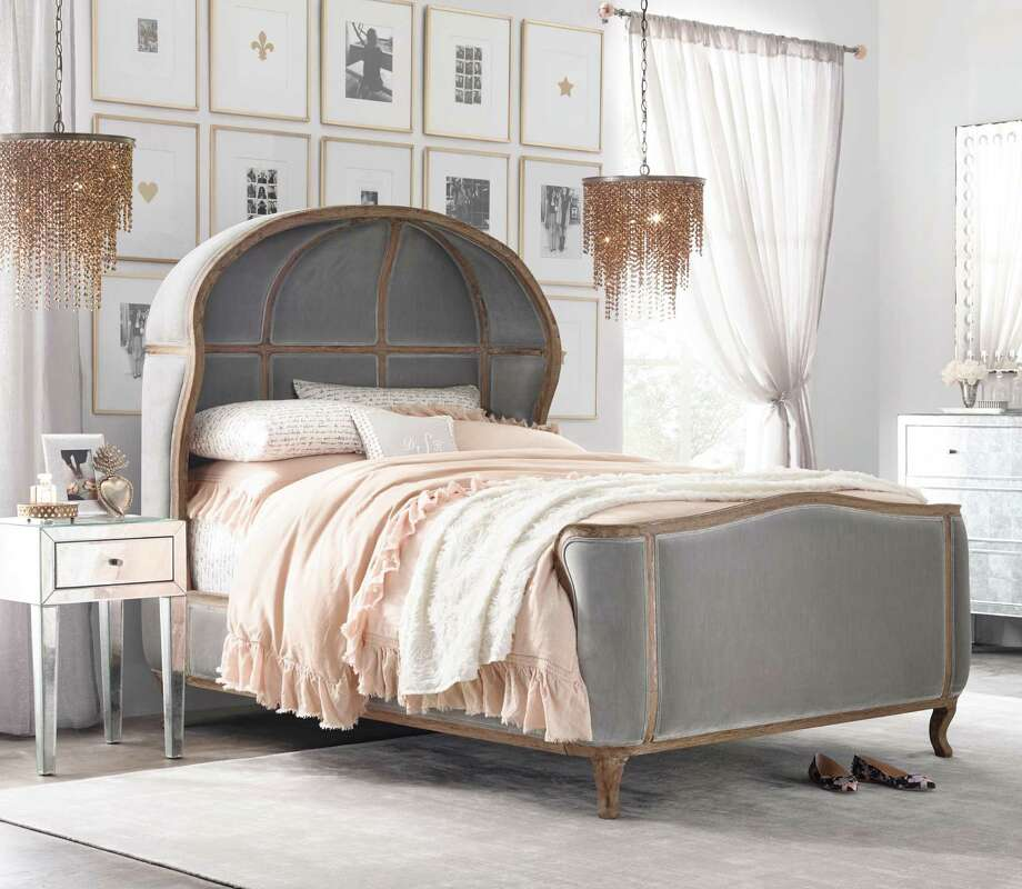 The velvet-covered Versailles bed, starting at $2,699, is part of the new RH Teen collection.