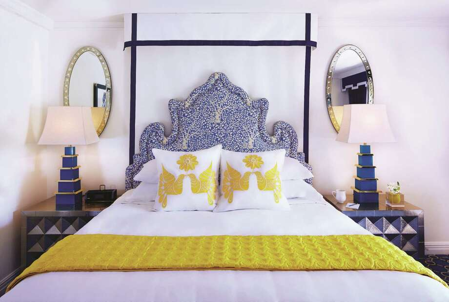 Inside a guest room at Eau Palm Beach Resort & Spa in Manalapan, Florida, with bold color choices and other touches of Jonathan Adler's redesign. The 309-room property is the international designer's second hotel project. Photo: Eau Palm Beach Resort & Spa, Handout / Eau Palm Beach Resort & Spa