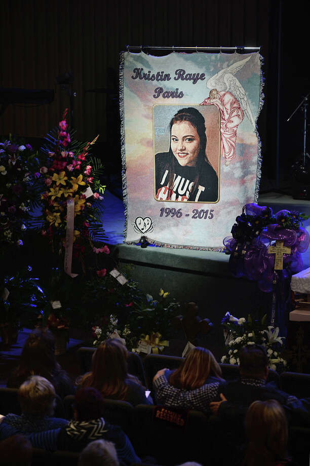 A blanket with Kristin Paris' picture on it during her funeral service on Tuesday. Paris was killed from injuries received in a January car wreck. Rockline Kennedy has been charged with intoxication manslaughter from the wreck where he was driving the wrong in direction on Interstate 10.  Photo taken Tuesday, February 03, 2015 Guiseppe Barranco/The Enterprise Photo: Guiseppe Barranco, Photo Editor