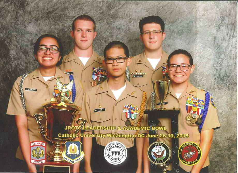 Mayde Creek High School's 2015 Navy JROTC Academic Bowl members, from left, back row: Austin Watts (captain) and Ian Campbell; front row: Sabrina Hernandez, James Ong and Laura Delcid with trophies they earned. Photo: Courtesy MCHS