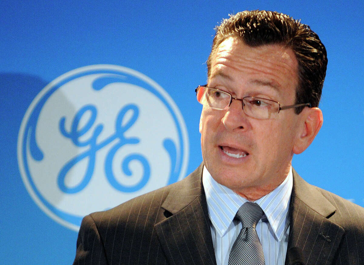 Connecticut Gov. Dannel P. Malloy speaks a news conference announcing a partnership between General Electric and the University of Connecticut in 2012. A bidding war for GE's corporate base of operations has broken out between Connecticut and several other states this summer, with rival governors trying to seize on the conglomerate's displeasure with the business tax climate in its home state and the state budget.