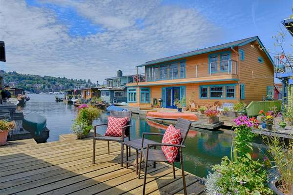 Deck at 2019 Fairview Ave. E. Slip N. The two-bedroom, two-level floating home is listed for $775,000.
