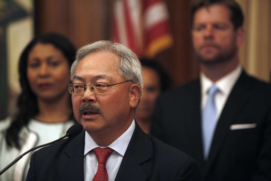 Mayor Ed Lee holds a press conference to announce the  Blueprint To 10,000 Affordable  Homes For Families & Residents  at City Hall, September 8, 2015. Photo: Franchon Smith, The Chronicle