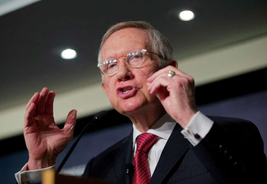 Senate Minority Leader Harry Reid, D-Nev., discusses the Iran nuclear pact at the Carnegie Endowment for International Peace in Washington on Tuesday. Photo: Pablo Martinez Monsivais, STF / AP