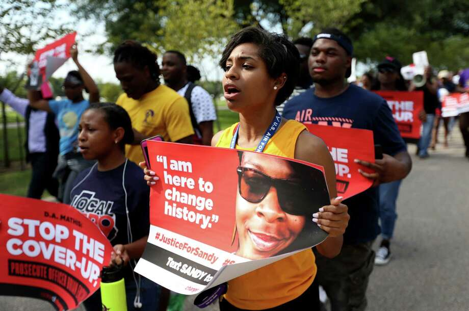Prairie View A&M University student Karimah Williams, 19, of Allen, along with students and supporters march along University Drive to Prairie View City Hall from the student union building on campus Tuesday, Aug. 25, 2015, in Prairie View, Texas. Prairie View City Council held an amended meeting passing a proposal and resolution to name a portion of University Drive to be named Sandra Bland Parkway. ( Gary Coronado / Houston Chronicle ) Photo: Gary Coronado, Staff / © 2015 Houston Chronicle