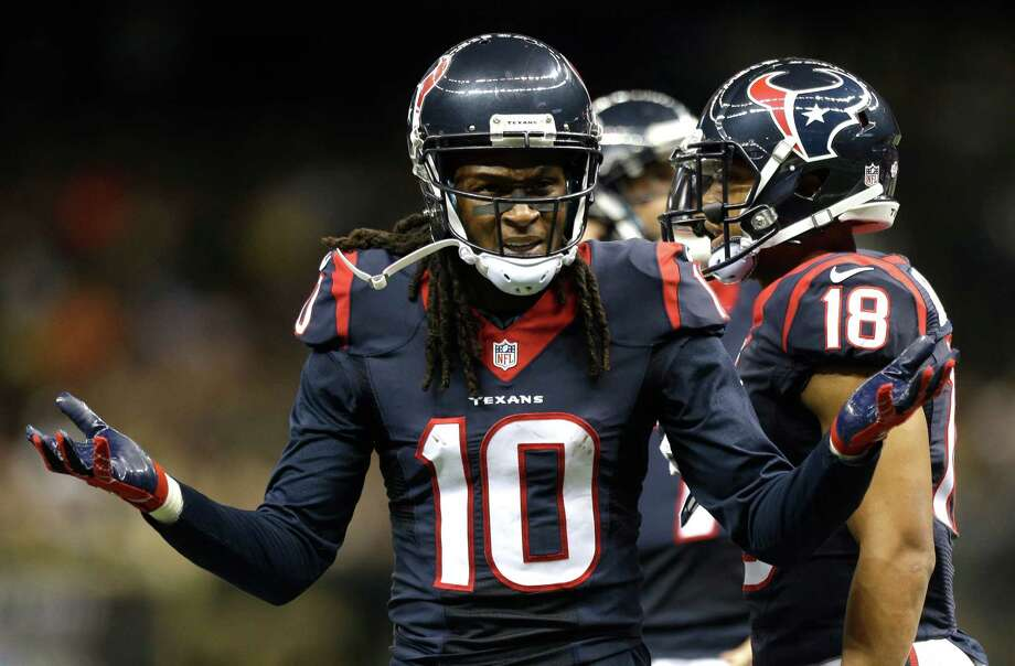 Houston Texans wide receiver DeAndre Hopkins (10) questions an incomplete pass call in the end zone against the New Orleans Saints during the first quarter of an NFL pre-season football game at the Mercedes-Benz Superdome on Sunday, Aug. 30, 2015, in New Orleans. Photo: Brett Coomer /Houston Chronicle / © 2015  Houston Chronicle