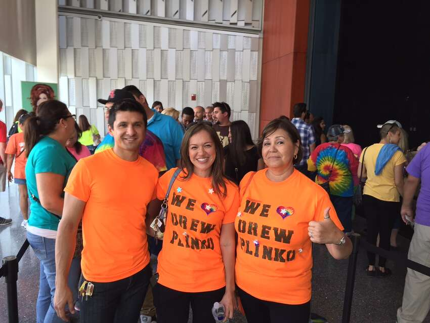 Adolfo Villarreal, Celeste Villarreal (center) + Aurora Curiel (right) waiting for the Price is Right Tuesday Sept. 8, 2015.