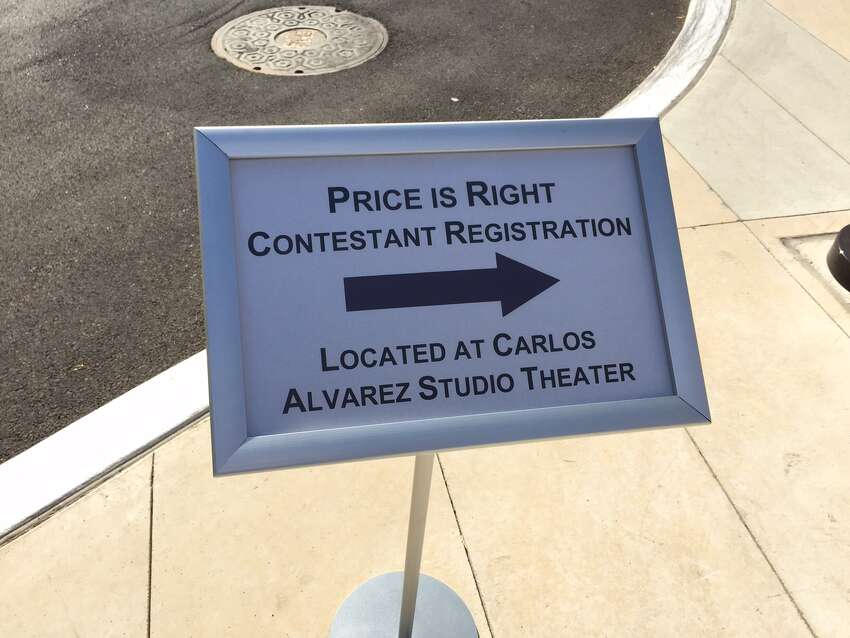 This sign outside the Tobin Center points the way for Price is Right contestants.