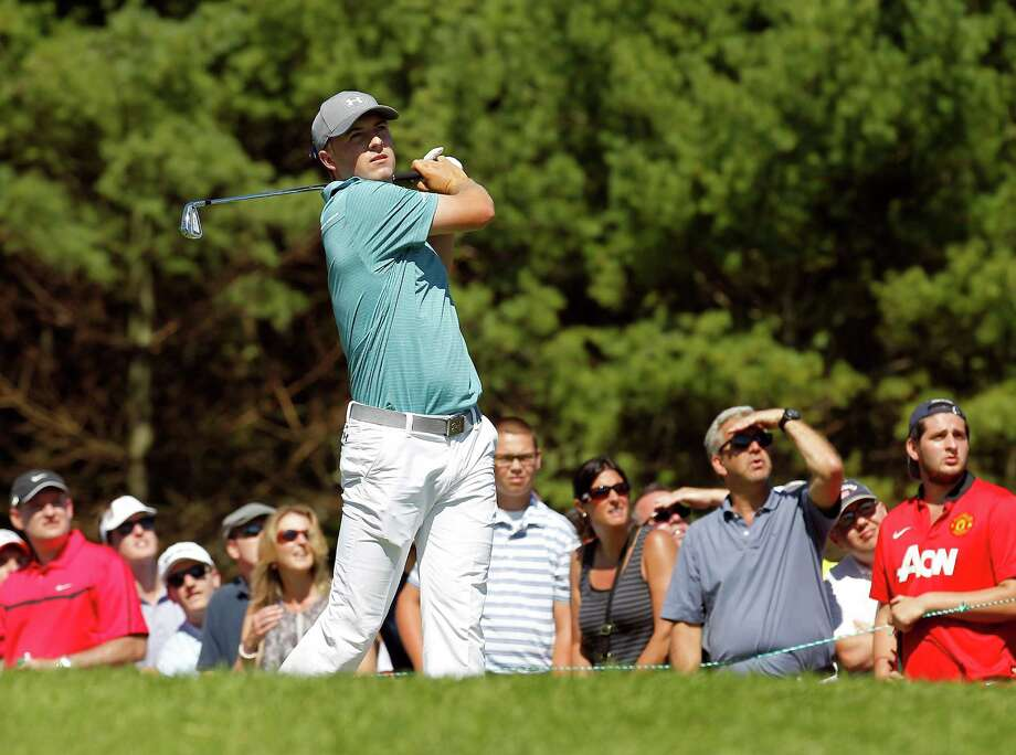 Jordan Spieth watches his tee shot on the third hole during the second round of the Deutsche Bank Championship golf tournament in Norton, Mass., Saturday, Sept. 5, 2015. (AP Photo/Stew Milne) ORG XMIT: MASM118 Photo: Stew Milne / FR56276 AP