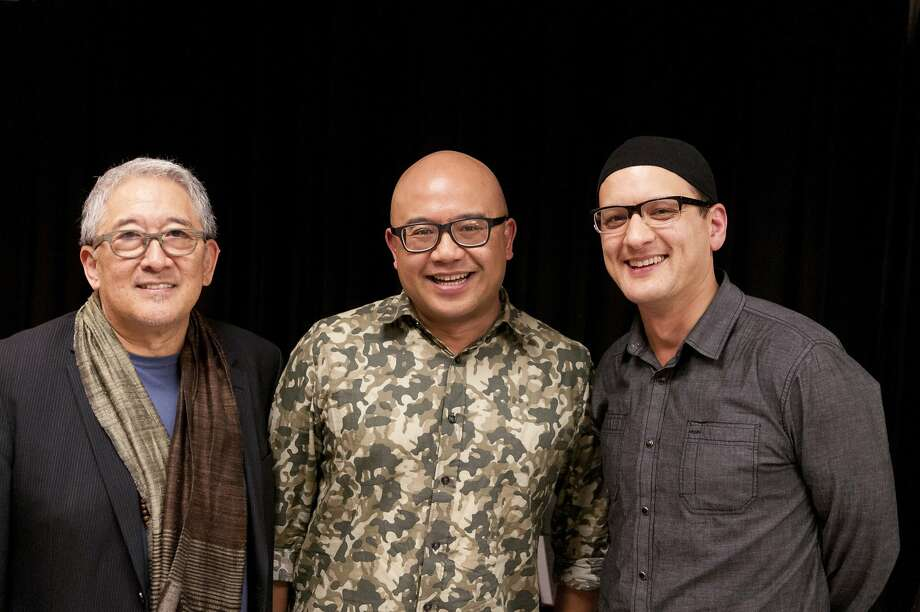 "Philip Kan Gotanda, left, Lysley Tenorio and Sean San Jose: the playwrights flank the author of the book for ACT's ""Monstress""  NOTE: San Jose takes accent / over the final e Photo: Ryan Montgomery"